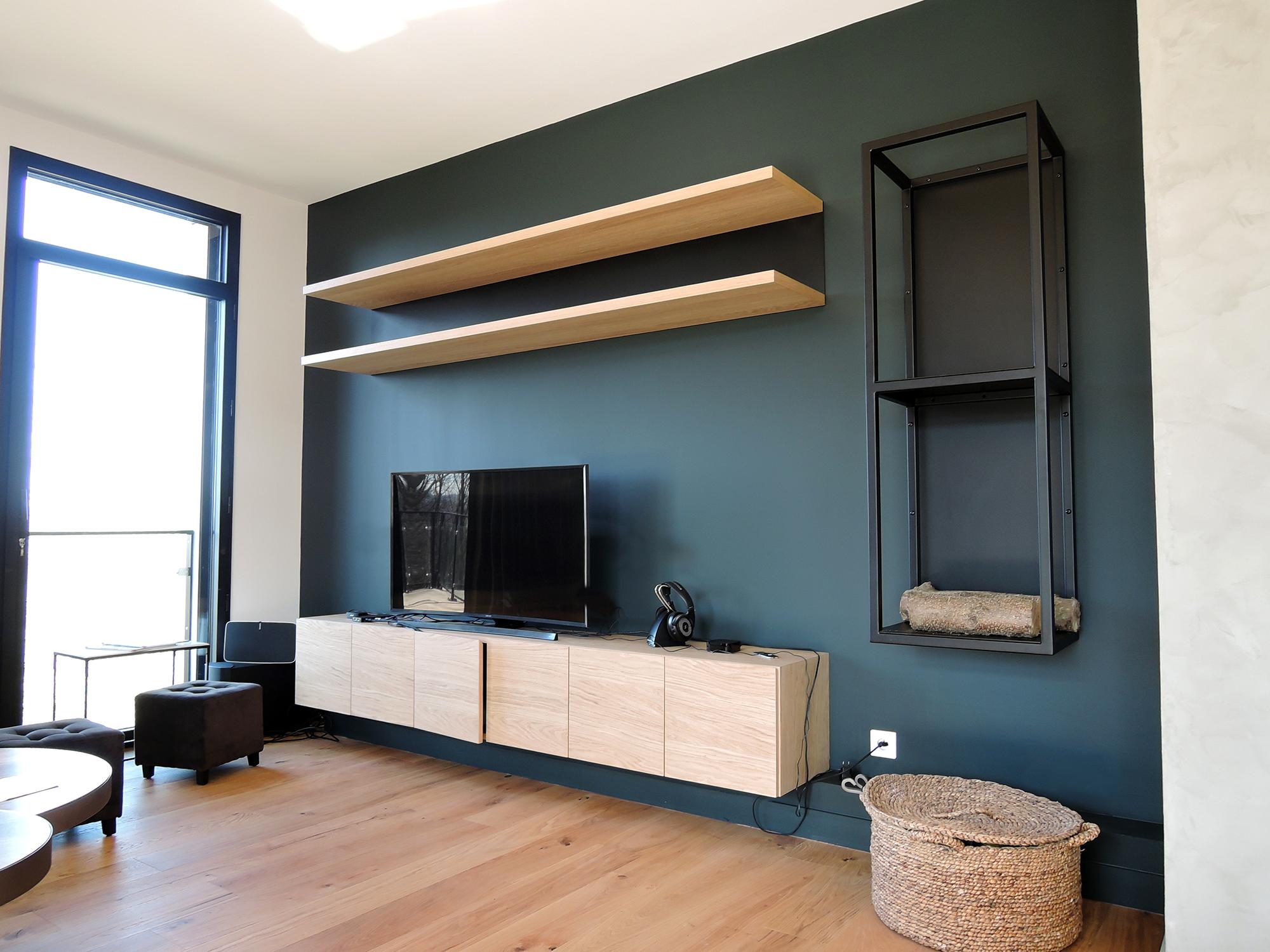 artmeta am nagement meuble tv tag res range buches en ch ne naturel acier noir charbon. Black Bedroom Furniture Sets. Home Design Ideas