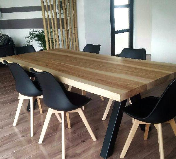 ARTMETA aubier 180 x 90 frene olivier + pieds noir fine texture