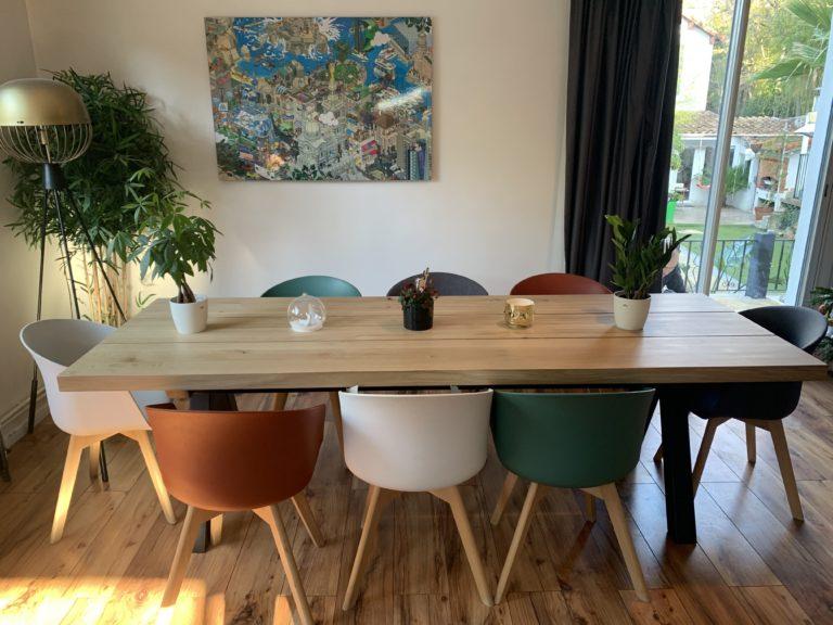 Table à manger Aubier / 3 Plateaux en chêne authentique massif / L 250 x l 90 x h 75 cm / Pieds en Noir charbon