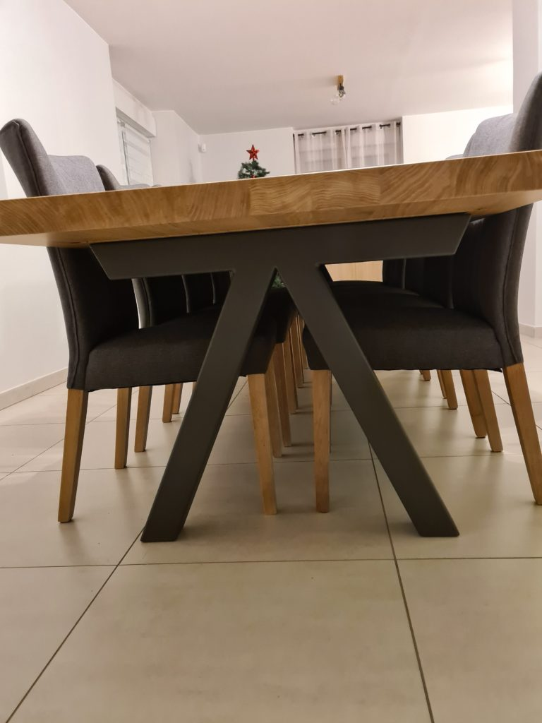 Table à manger Aubier en chêne contemporain massif / L 350 x l 100 x h 75 cm / Pieds en Gris acier