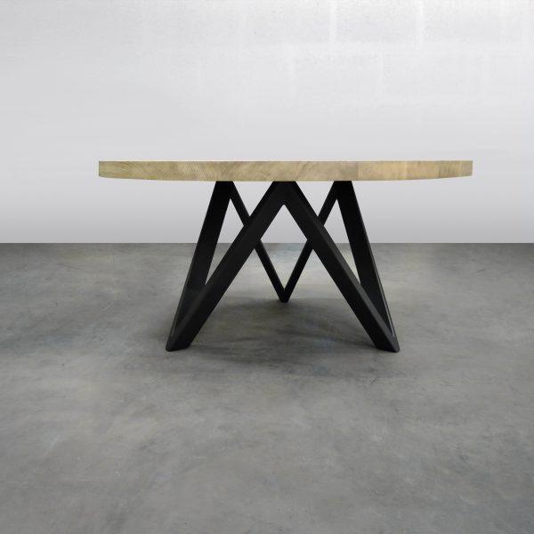 ARTMETA Table M ronde en métal et bois massif
