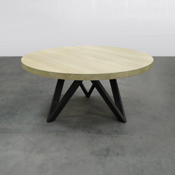 Table m avec pied central m tal et bois massif - Pied de table hauteur 90 ...