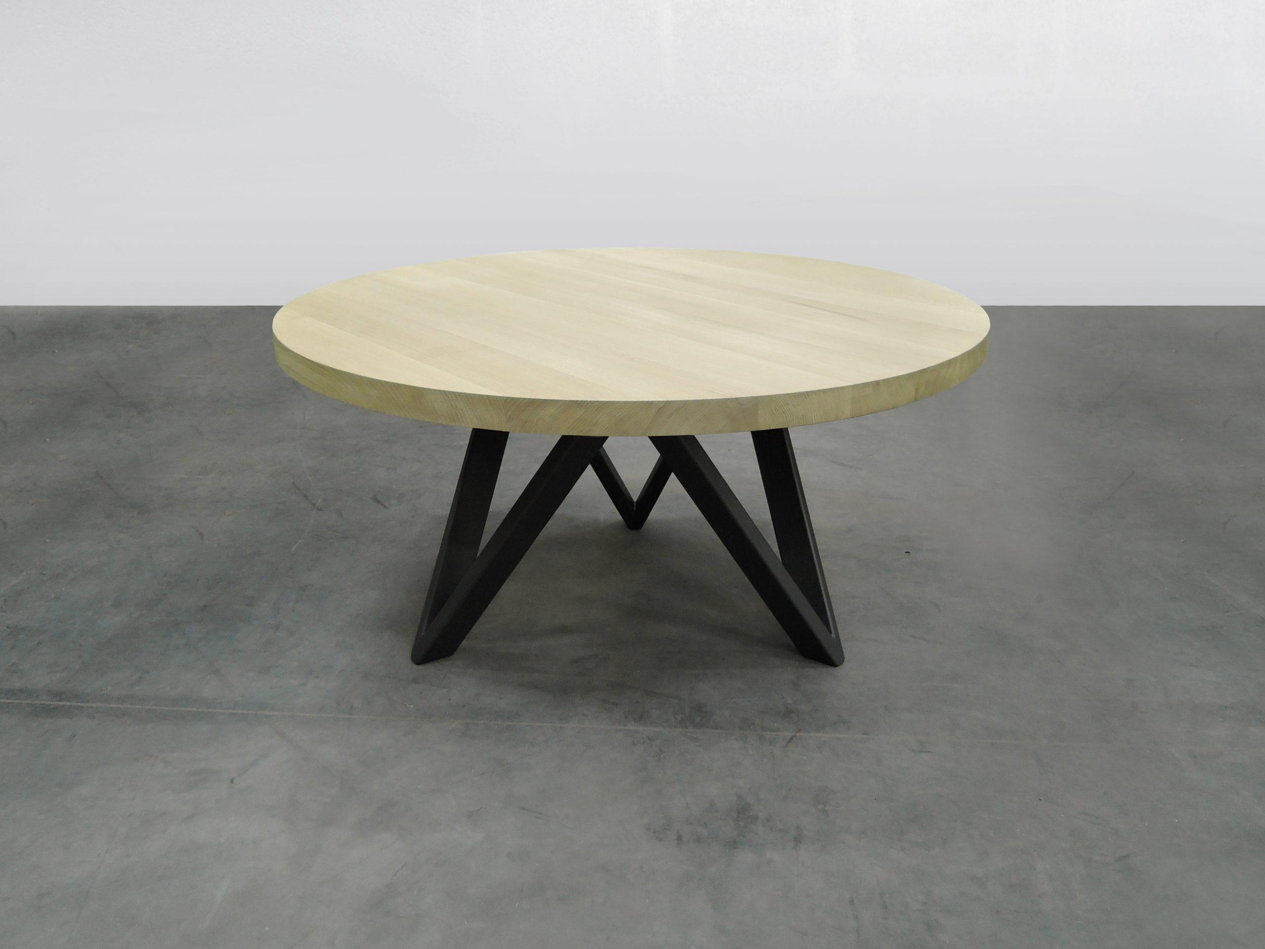 ARTMETA table ronde en métal et bois massif