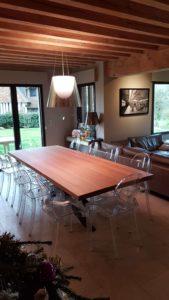 ARTMETA / table Mikado 280 x 110 cm chêne naturel 4 bords droits et marron cuivré