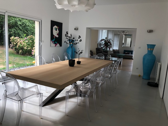 pied de table design Mikado acier et bois de chêne blanchi ARTMETA