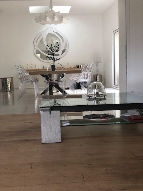 ARTMETA table Mikado acier et bois de chêne blanchi