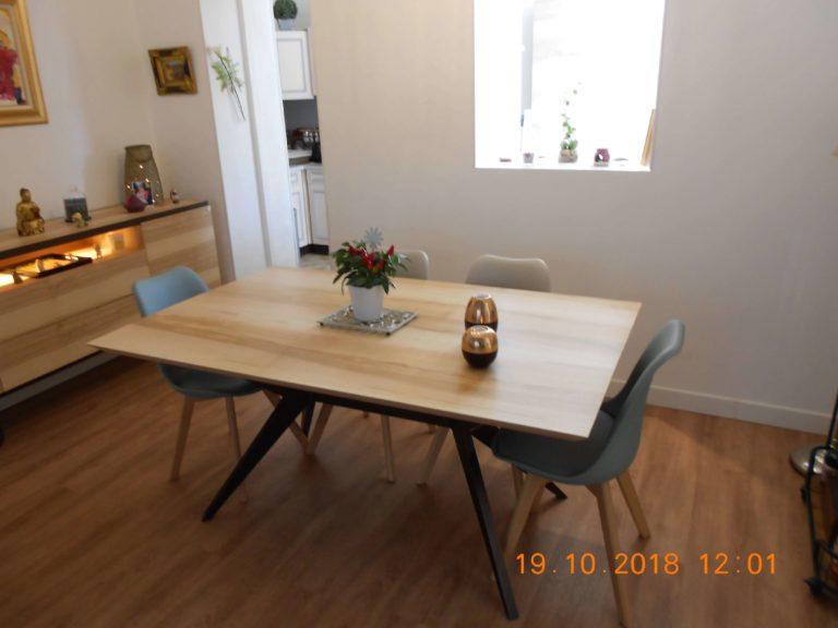 ARTMETA / table Papillon 160 x 100 cm en frêne olivier massif et pied marron cuivré