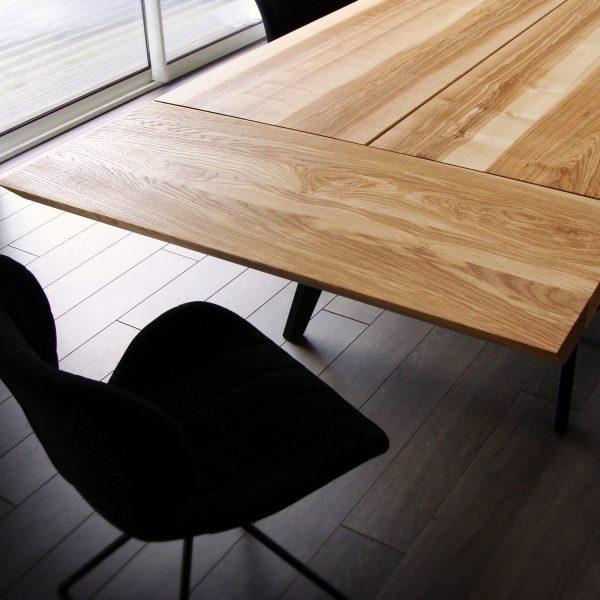 ARTMETA / table Amazone artisanale et sur mesure en métal et bois massif avec allonges