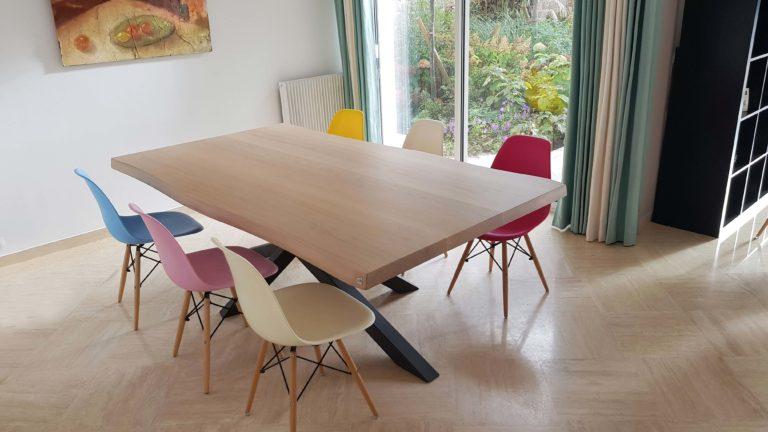 ARTMETA / table Mikado 220 x 125 cm / chêne blanchi prestige et gris acier
