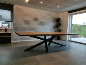 ARTMETA / table Mikado 180 x 90 cm / Frêne olivier et pieds noir charbon
