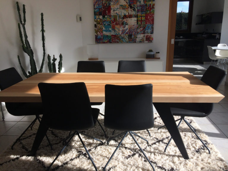 ARTMETA / table Amazone 200 x 100 cm / frêne olivier et noir charbon