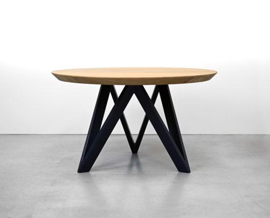 table ronde bois massif M / chêne contemporain français et acier bleu nuit / Fabrication artisanale