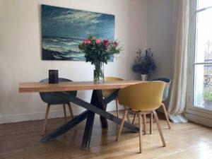 TABLE Mikado avec piétement en acier brut verni