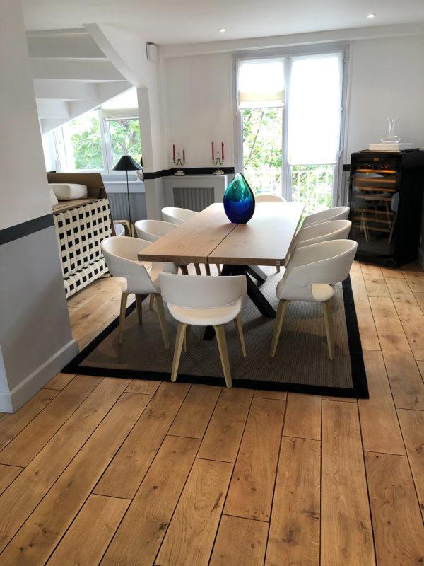 Table Mikado en chêne massif de 220 x 100 x H 75 cm 2 plateaux et piétement noir charbon / Fabrication sur mesure ARTMETA