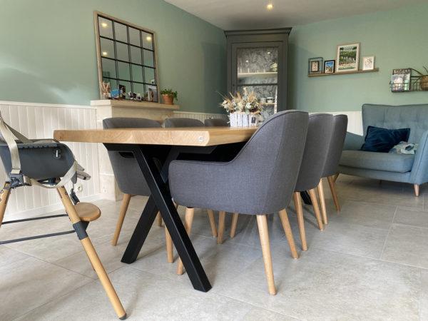 Table à manger Viking / 240x100xH75 cm / chêne contemporain et pied noir charbon / ARTMETA