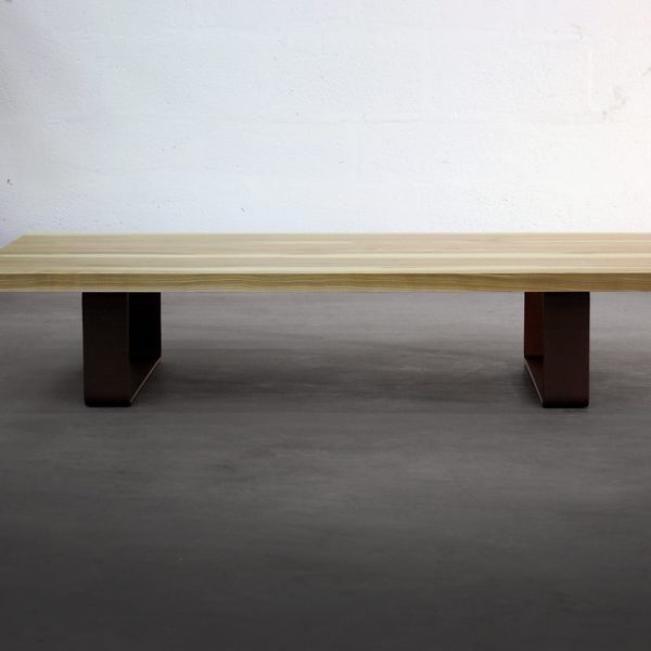 ARTMETA / table basse Ruban en acier et bois massif de chêne, frêne où autres essences