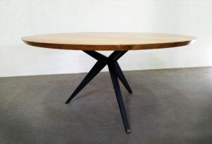 ARTMETA / Table à manger ronde papillon diamètre 140 cm / frêne olivier et pied RAL 7016