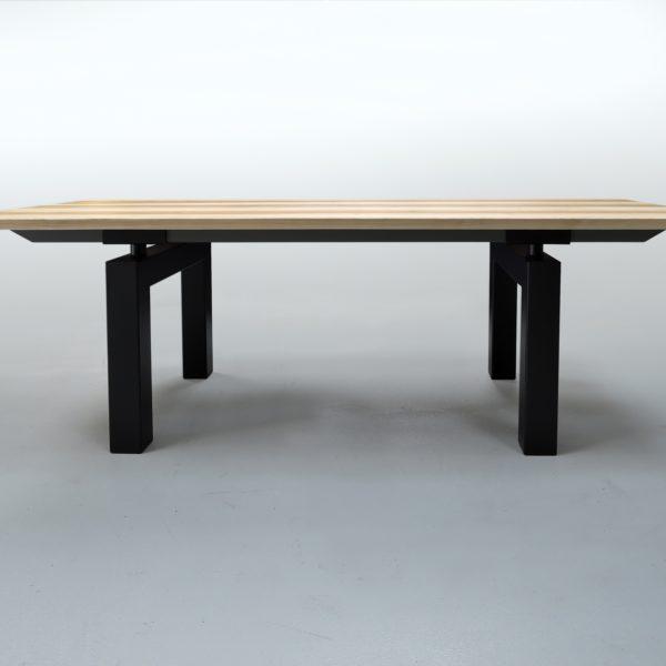 ARTMETA / table Mecano en acier et bois massif