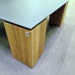 ARTMETA table basse contraste en acier et bois massif