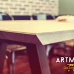 ARTMETA table Galopin en bois massif et acier thermolaqué