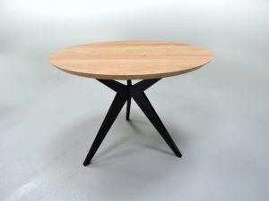 ARTMETA / table papillon ronde diamètre 100 cm / chêne naturel et pied noir charbon