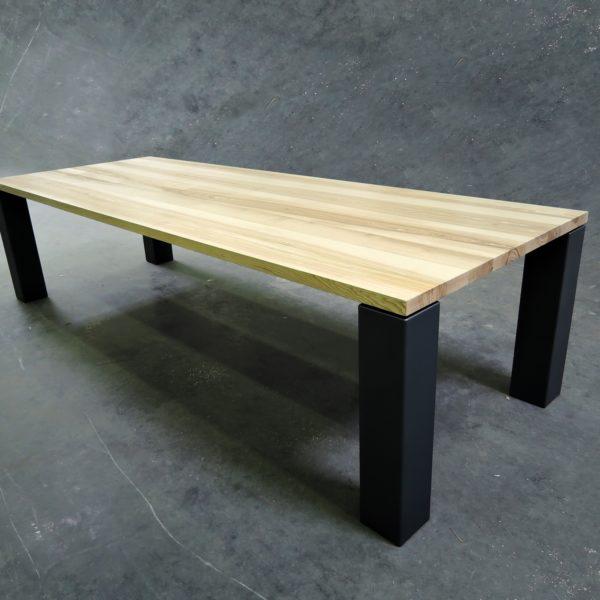 ARTMETA / table panorama en métal et bois massif