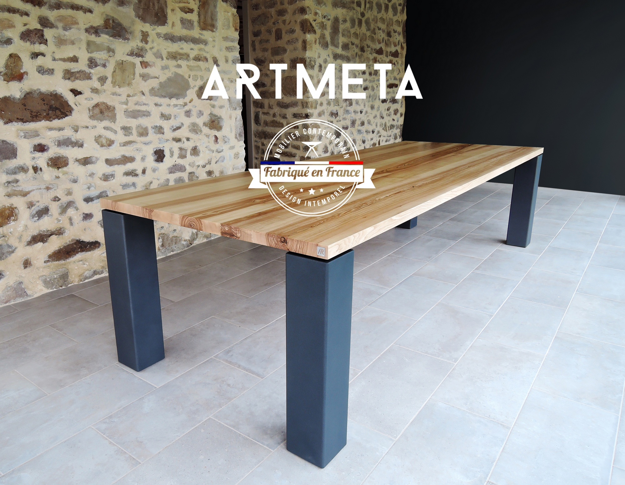 table artmeta metal et bois massif panorama pr sentation copier artmeta. Black Bedroom Furniture Sets. Home Design Ideas