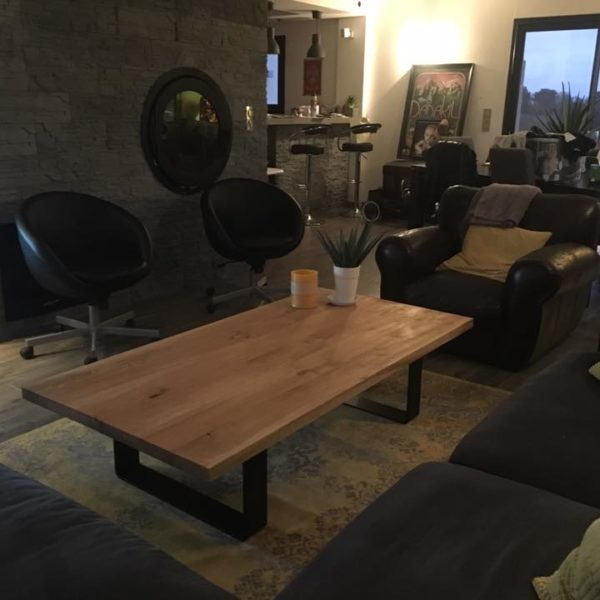 artmeta table basse ruban 160 x 80 cm frêne olivier et marron cuivré