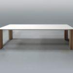 ARTMETA contraste table plateau blanc et pieds bois massif