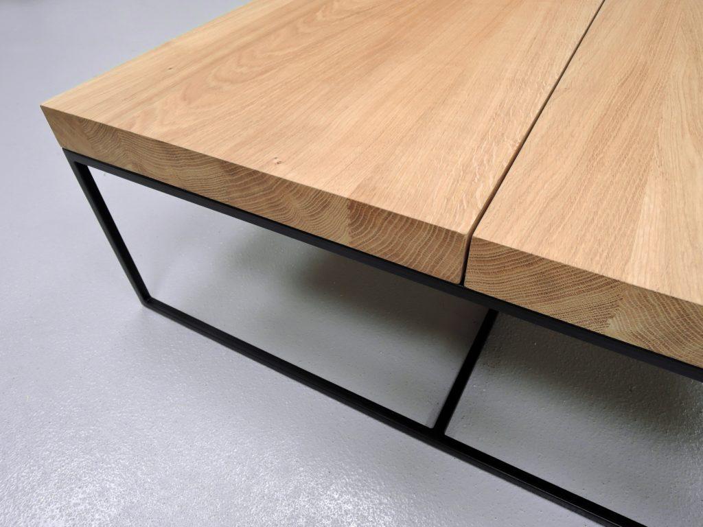 ARTMETA table basse aiguilles acier et bois de chêne massif