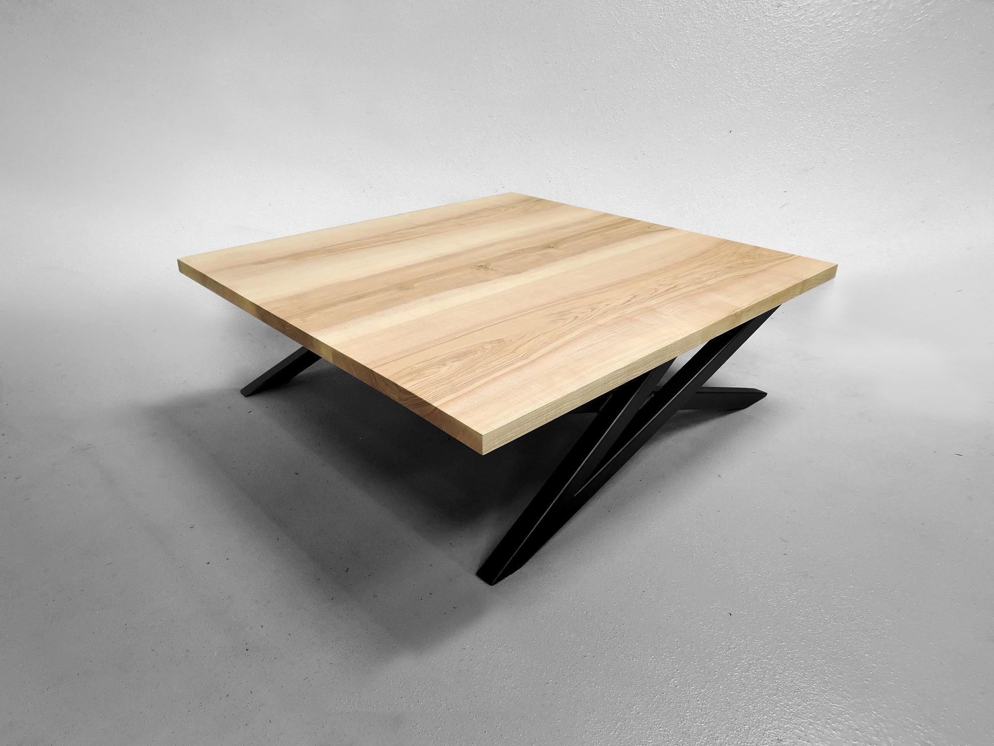 table basse signature acier et bois massif fabrication. Black Bedroom Furniture Sets. Home Design Ideas