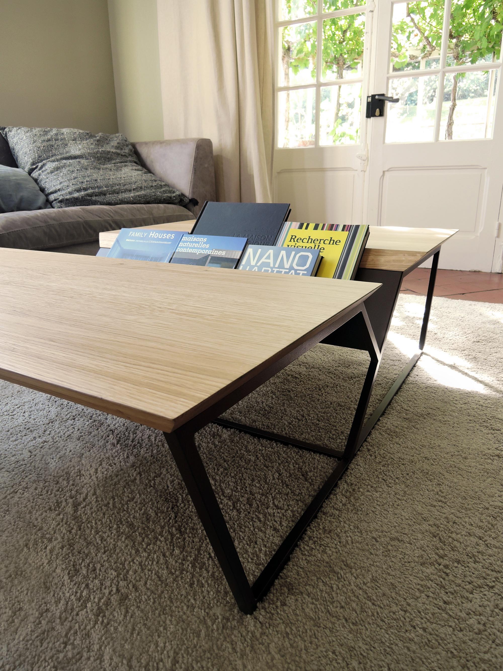 Table Basse Revue Acier Et Bois Massif Fabrication Artisanale
