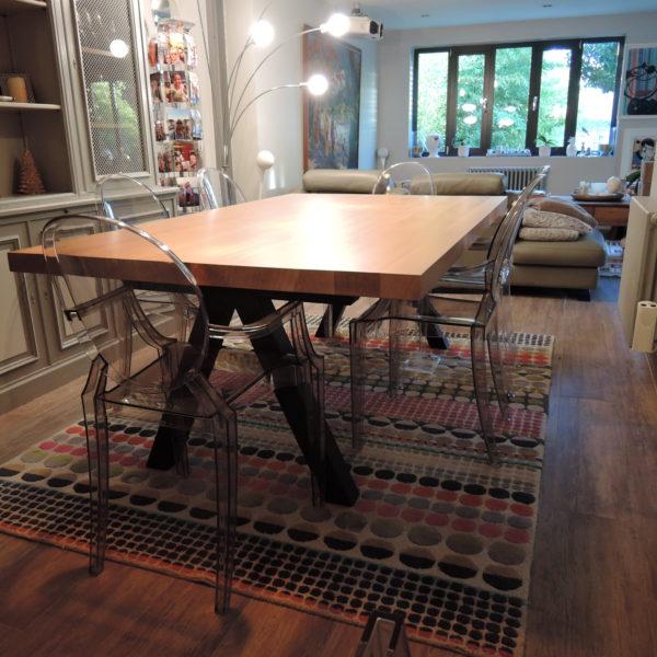 ARTMETA / table Aubier 200 x 120 cm / chêne naturel et noir charbon