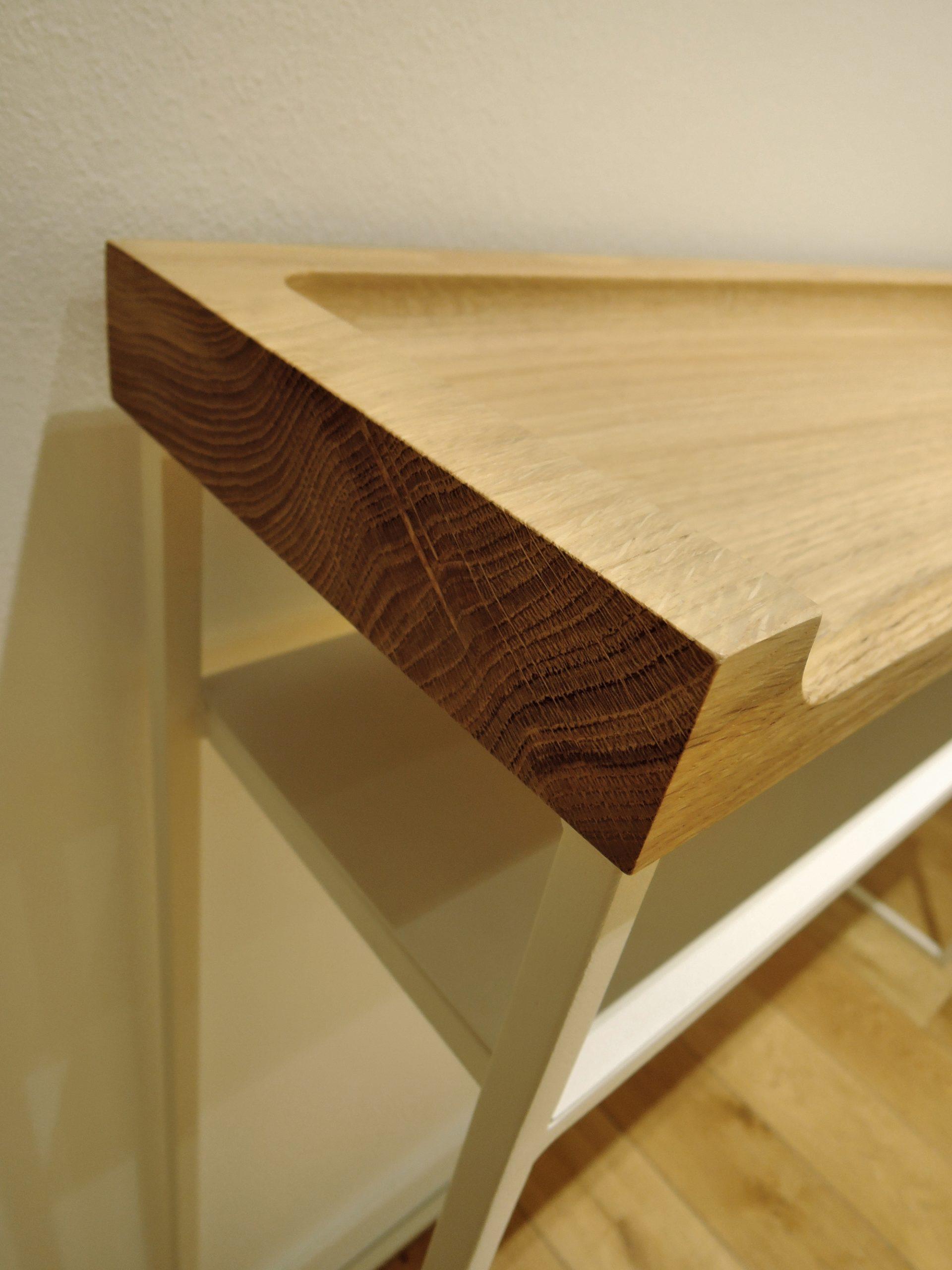ARTMETA / console Vague en acier et bois massif sculpté