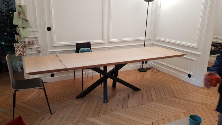 ARTMETA / table Mikado 180 x 85 cm / bords biseautés / chêne blanchi et noir charbon