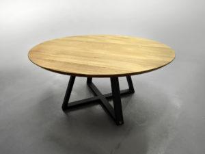 ARTMETA / table ronde Symbole en acier et bois massif