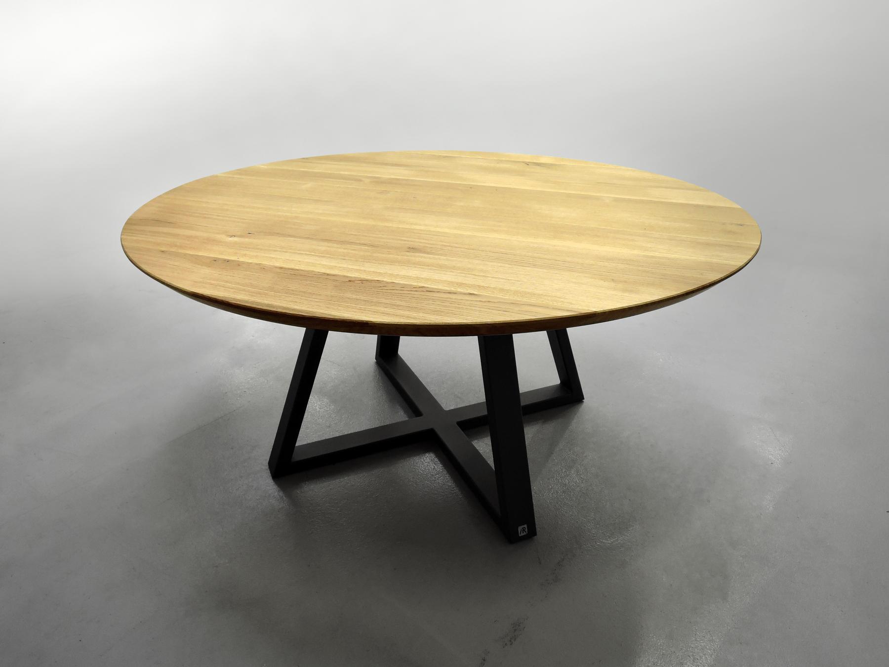 table x ronde m tal et bois massif design pur. Black Bedroom Furniture Sets. Home Design Ideas