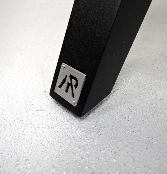 Bureau Cuir ARTMETA / Frêne olivier Français piétement noir charbon et set en cuir véritable