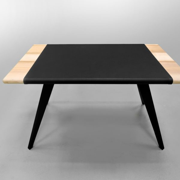 Bureau Cuir ARTMETA / 130 x 75 x H 75 cm / Frêne olivier Français piétement noir charbon et set en cuir véritable
