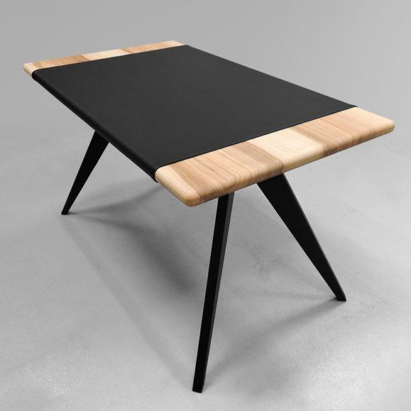 ARTMETA / bureau Cape / 130 x 75 x H 75 cm / Frêne olivier Français piétement noir charbon et set en cuir véritable