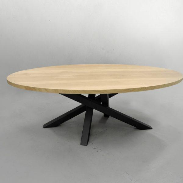 ARTMETA / table ovale pied central Mikado / acier bois massif chêne