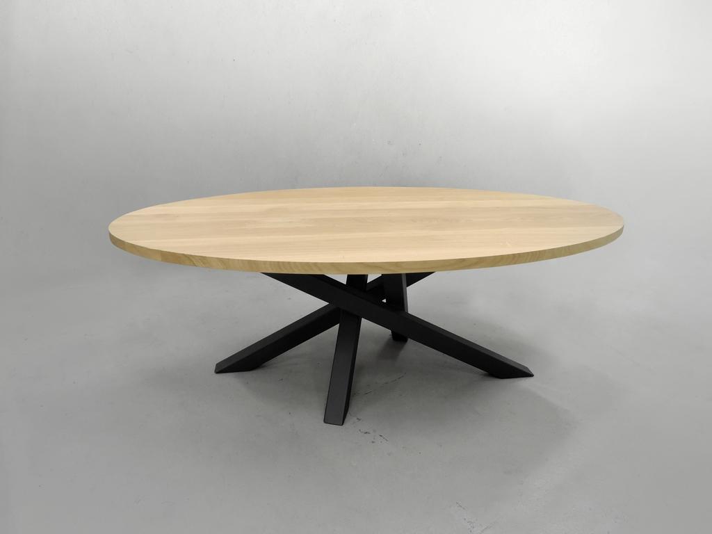Table Mikado Ovale Pied Central Metal Et Bois Massif Francais
