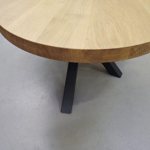 ARTMETA / table mikado ovale / acier bois massif chêne