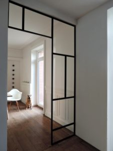 ARTMETA / verrière intérieure ART DECO en acier