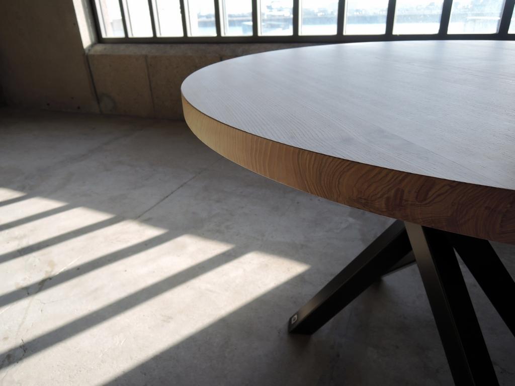 Table Mikado Ronde En Metal Et Bois Fabrication Artisanale Francaise