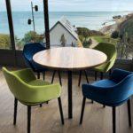 Table ronde design Landemer / Fabrication artisanale française / Métal et bois massif