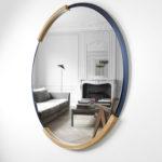 Miroir rond ARTMETA Muse / métal et bois / diamètre 80 ou 100 cm