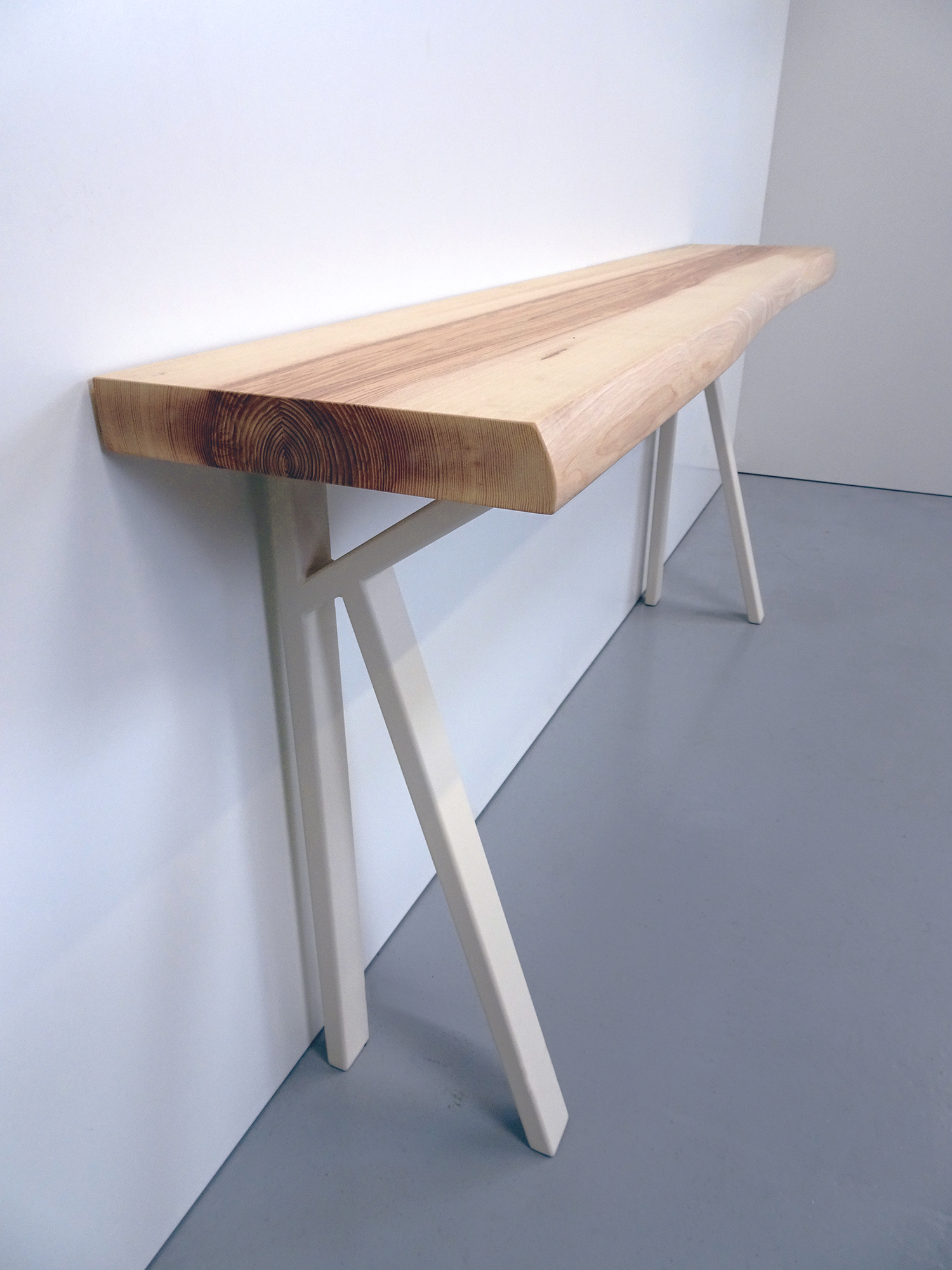 ARTMETA / console K sur mesure / acier et bois massif