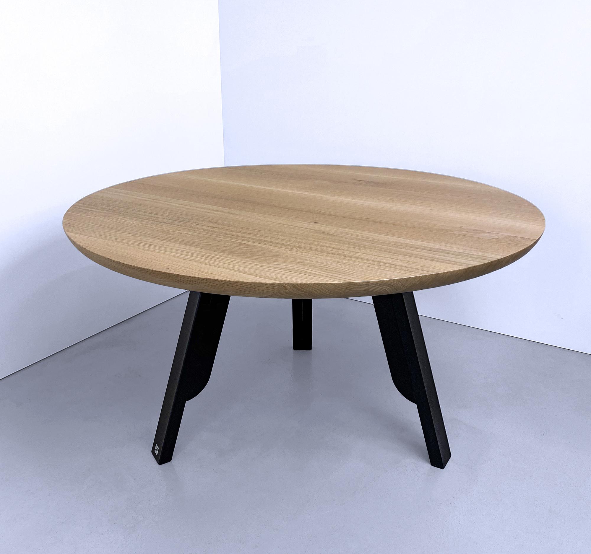 Table Ronde Nageoire Metal Et Bois Massif Design Elegant