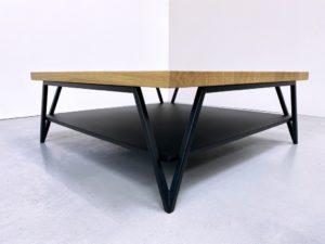 """Table basse double plateau sur mesure en acier et bois massif / modèle """"Variation"""" ARTMETA"""
